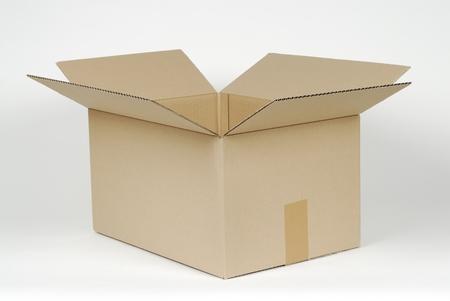 open cardboard box on white background