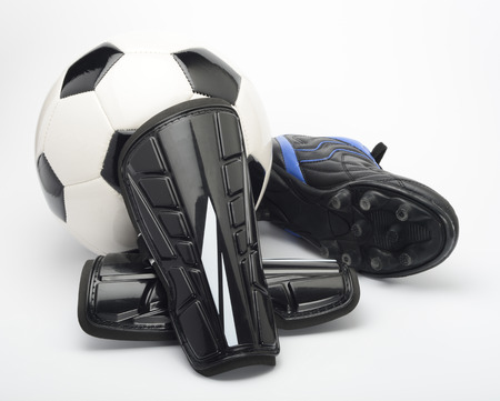 shin: Shin guard for soccer on white background Stock Photo