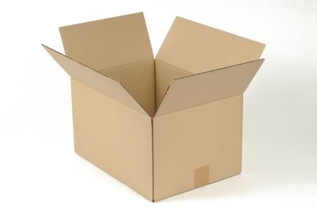 stockpile: open cardboard box on white background