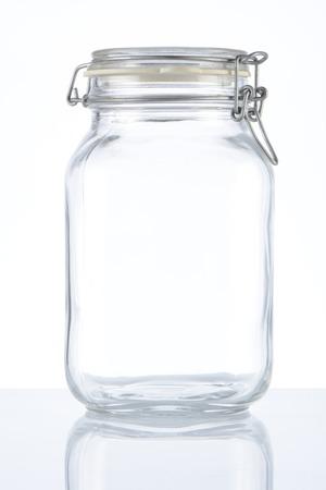 airtight: Empty glass jar on white background