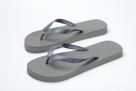 flops: Pair of flip flops gray Stock Photo