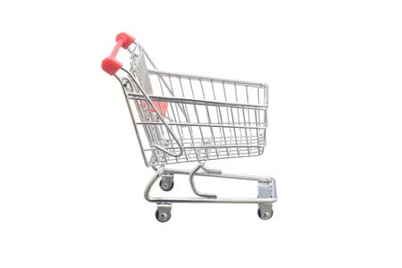 Carro de compras en el fondo blanco, colores rojos y grises