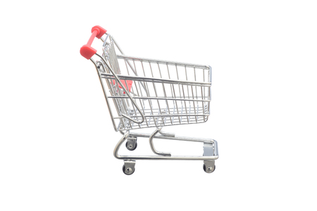 Shopping cart on white background, red and gray colors Stock Photo