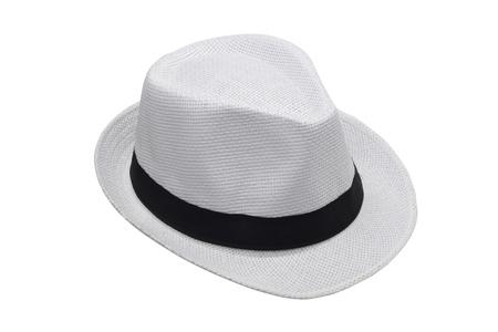 Sombrero blanco sobre fondo blanco Foto de archivo - 96000630