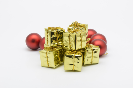 Some christmas decorative yellow boxes
