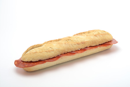 Chorizo sandwich on white background