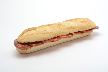 Sausage sandwich on white background