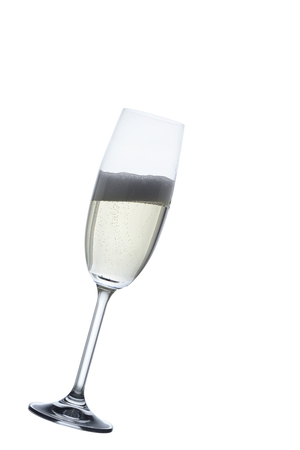 Champagne in a glass, in a isolated white background