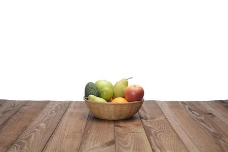 Still life of various fruits on wooden background Foto de archivo - 118518349