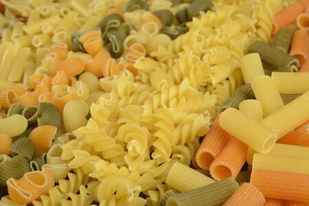 Different varieties of pasta into strips