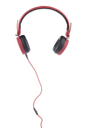 Red headphones with microphone on white background