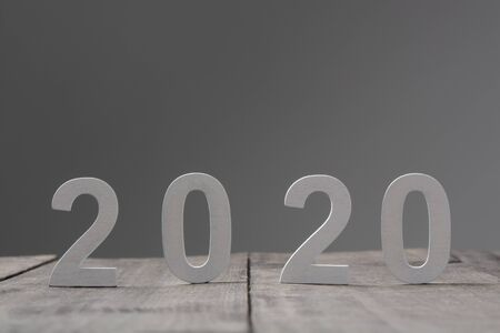 2020 in wooden letters, New Year Stockfoto