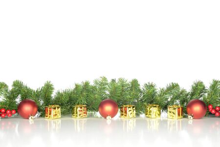 Christmas decoration with yellow, golden and red ornaments, design for a banner