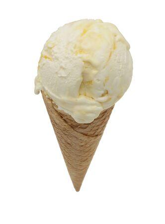 Ice cream cone with ice cream with fruit Фото со стока