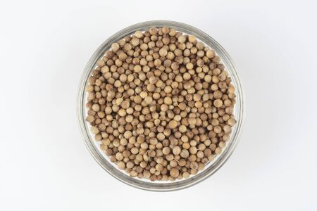 Coriander grain in a glass bowl on white background, top view Imagens
