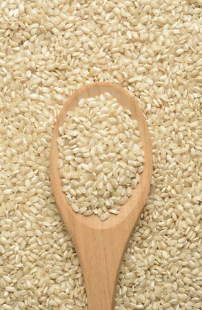 Raw wholegrain rice in a wooden spoon, detail Imagens