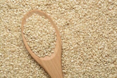 Raw wholegrain rice in a wooden spoon, detail 免版税图像