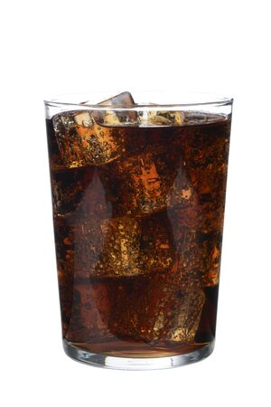 Glass of cola drink with ice on white background
