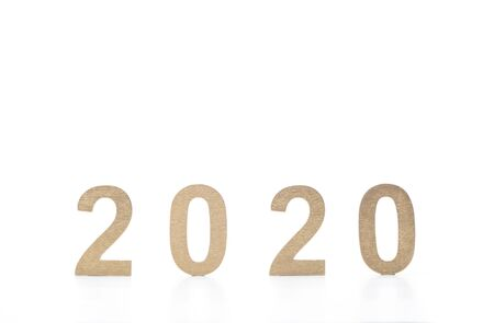New year 2020 in golden numbers on white background Reklamní fotografie
