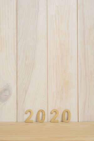 New Year 2020 in golden numbers, composition in vertical