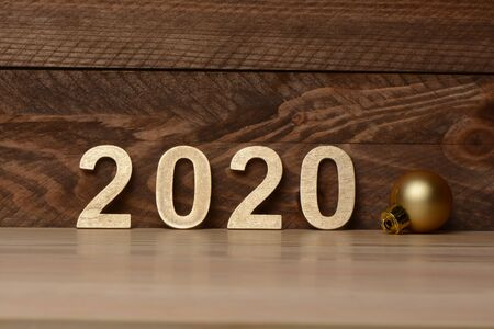 New Year 2020, numbers in golden colored wood