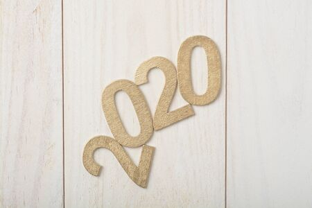 New Year in wooden numbers 2020, top view