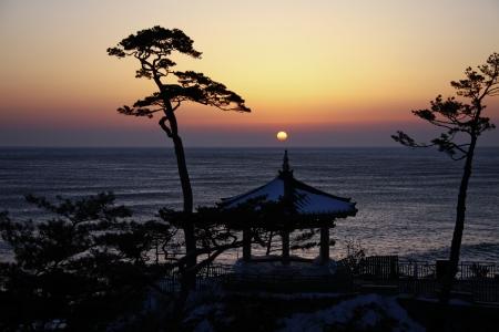 韓国の洛山寺寺院 写真素材