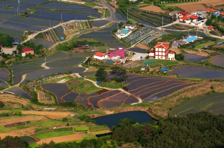 arial view: Arial view of rural place in south korea  Stock Photo