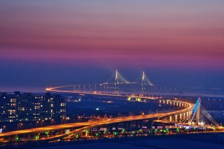 韓国、仁川大橋の美しい橋 写真素材