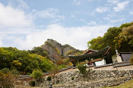 amity: Autumn landscape with temples in south korea, cheongryangsa