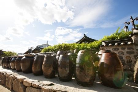 韓国、韓屋村の伝統的な村 写真素材
