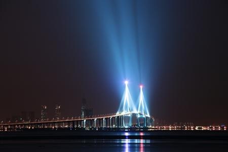incheon: Beautiful night view in South Korea,Incheon Bridge Stock Photo