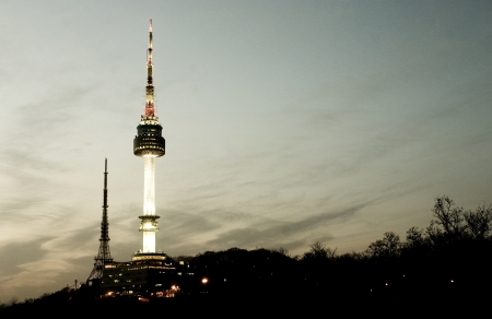 Beautiful night view in South Korea,Namsan  tower