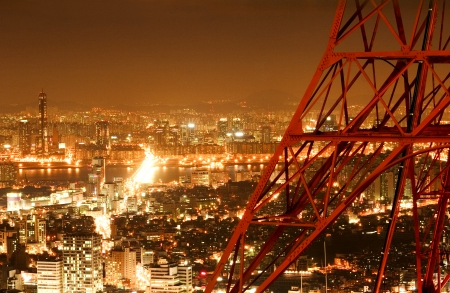 Beautiful night view in South Korea,Namsan tower photo