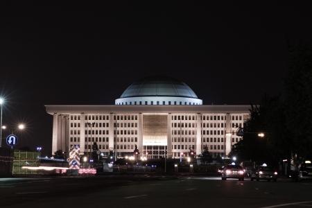 Belle vue de nuit en Corée du Sud, Yeouido bâtiment de l'Assemblée nationale Banque d'images - 24410075