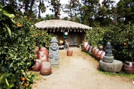 Traditional thatched houses on the beautiful Jeju Island Korea
