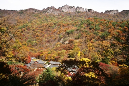 Autumn landscape with temples in south korea,naejangsa photo