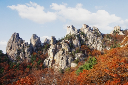 Autumn landscape with a beautiful Sorak Mountain in South Korea