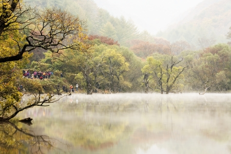 Autumn landscape with beautiful Jusanji in South Korea photo