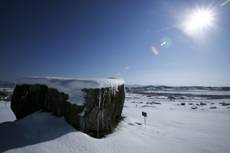 Beautiful winter landscape in South Korea,Gochang  dolmen photo