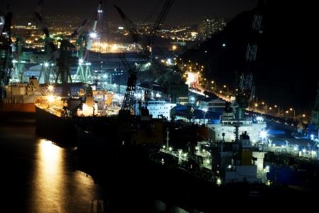 Ulsan shipyard in south korea Industrial Complex Stock Photo