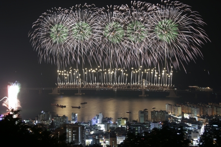Beautiful night view in South Korea,Busan  International Fireworks Festival Stock Photo - 24254551