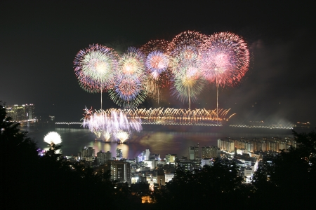 Beautiful night view in South Korea,Busan' International Fireworks Festival' photo
