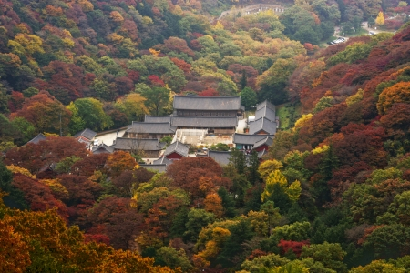 Autumn landscape with temples in south korea, Baegyangsa photo