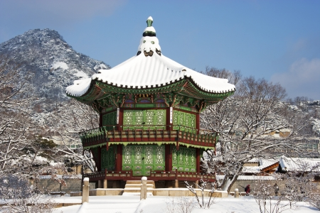 Winter landscape in South Korea Gyeongbokgung  Palace