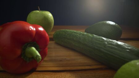 Vegetables on wood. Pepper, apple, cucumber, avocado, lemon, detox, healthy food, farmers, harvest, wooden table. Organic vegetables on wood