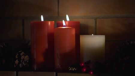 Christmas decoration background with burning candles