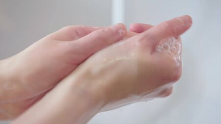 Cleaning Hands, Washing hands with soap for protect coronavirus 2019. Stok Fotoğraf