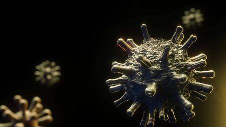 Coronavirus 2020-nCov novel coronavirus concept responsible for asian flu outbreak and coronaviruses influenza as dangerous flu strain cases as a pandemic. Microscope virus close up. 3d rendering.