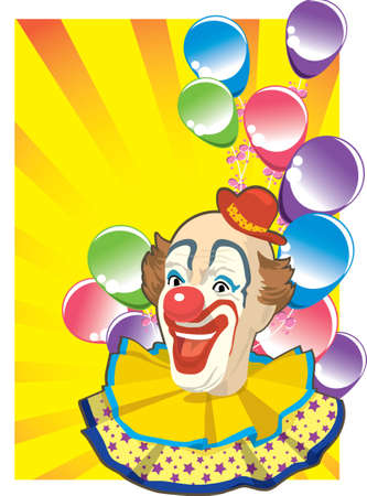 clown with colorful balloon Vector